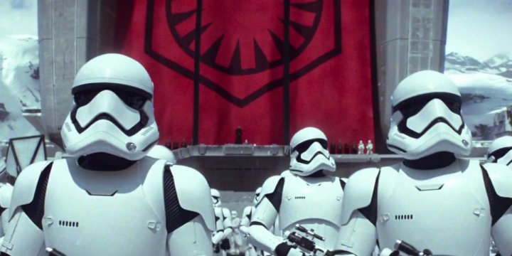 First Order stormtroopers standing at attention.