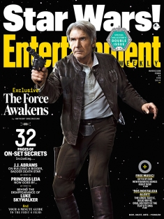 "One of the variant covers of the magazine in which we see Han Solo in a familiar stance. Looks like the old cowboy is still part of the action. ""I can't imagine that Han Solo would ever not be a smartass. On the other hand, I'd like to think that he is very different at 30 than he is at around 70,"" says J.J. Abrams. ""When you live a life, you've had loss, you've experienced love and family and epiphanies and tragedies and disappointments and surprises. Those things accumulate."""