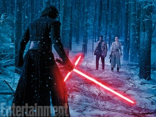 """What do we have here? In the trailer we see Finn igniting the saber against the foe Kylo, terror on his face. """"Obviously that makes things a bit more tricky for Finn,"""" Boyega says. """"That's genuine fear."""" But it looks like he isn't facing that terror alone. Could this be the scene we've been waiting for? Finn falling in battle while Rey become the Jedi we all hope she is?"""