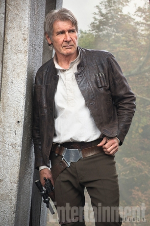 """Portrait of a smuggler as an older man. There's a lot more gray, but the same swagger. """"It could have felt silly, but it didn't,"""" Harrison Ford says of getting back into Han Solo's familiar holster. """"Well, he's been living with me. Out back, in the shack,"""" Ford says with a laugh. """"[Thirty-two] years is going to put some rings on the tree, some experience in the bank, and that's really all I needed."""""""