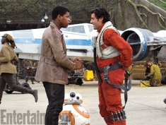 Looks like we have a picture of our new onscreen brolationship. Rumor has it that Finn rescues Poe off the ship, could be the beginning of Finn's change from bad guy to hero.