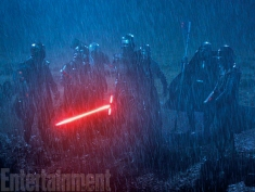 Producer Bryan Burk says the last major day of shooting on The Force Awakens was this dreary, rainy scene featuring Adam Driver's Kylo Ren and some masked figures in armor believed to be the Knights of Ren. All we know is that they give Kylo his new name after joining their order. Who they are and what they want will be a mystery answered by the movie, but coming later this week on EW, we'll offer a little insight into Kylo's other Dark Side associates: Supreme Leader Snoke (played by Andy Serkis) and General Hux (played by Domhnall Gleeson.)